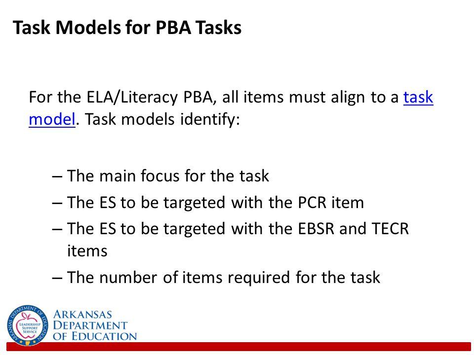 Task Models for PBA Tasks