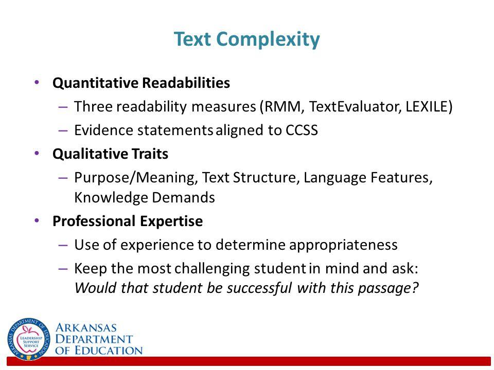 Text Complexity Quantitative Readabilities