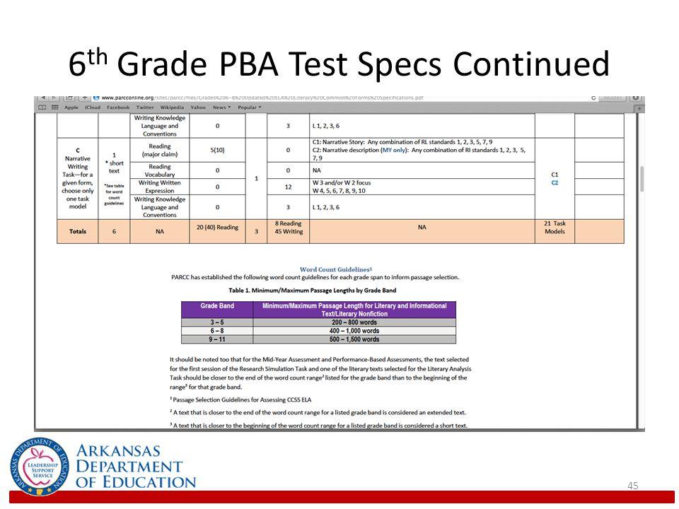 6th Grade PBA Test Specs Continued