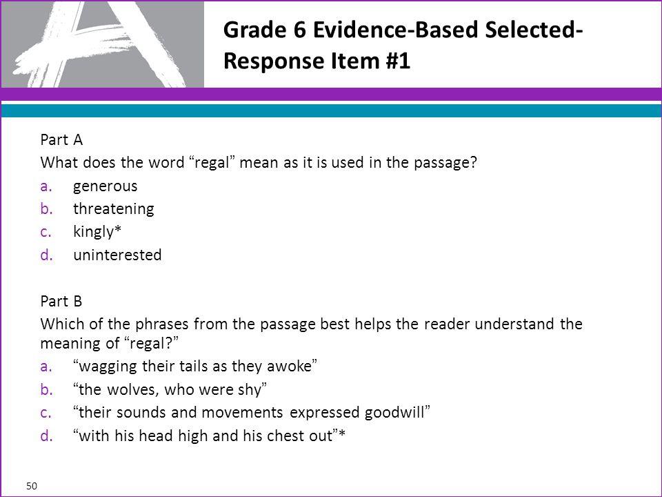 Grade 6 Evidence-Based Selected-Response Item #1
