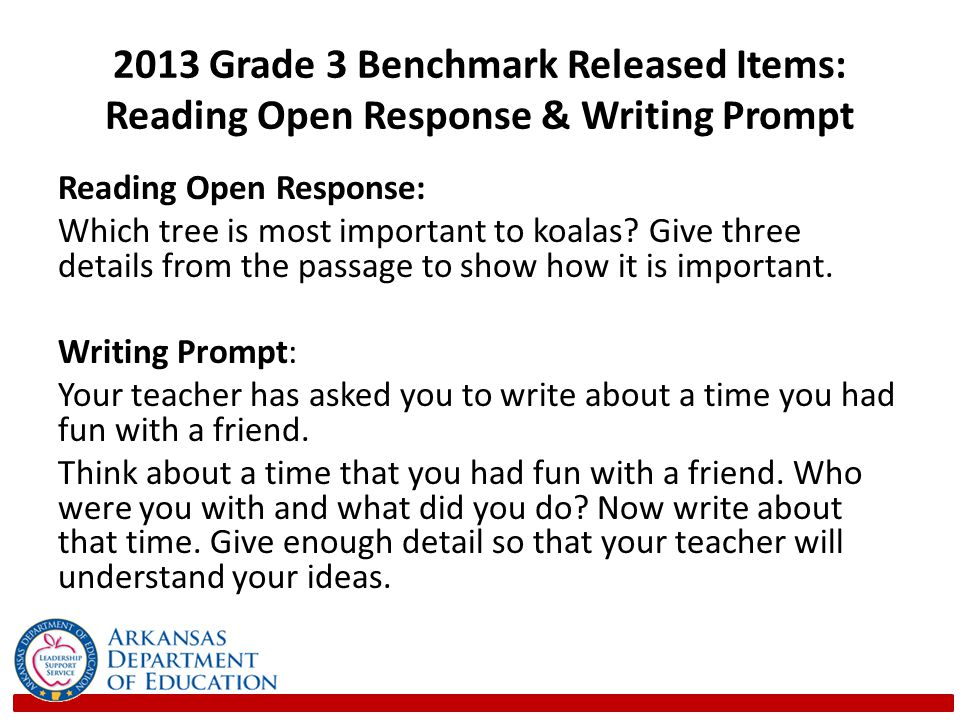 2013 Grade 3 Benchmark Released Items: Reading Open Response & Writing Prompt