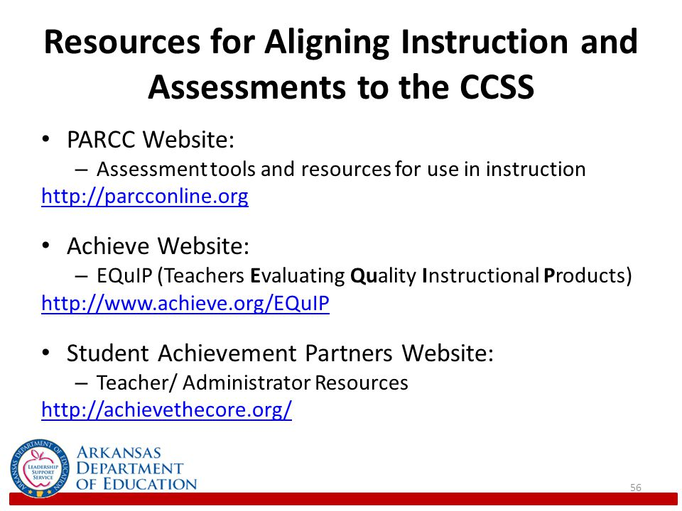 Resources for Aligning Instruction and Assessments to the CCSS