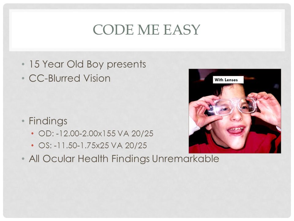 CODE ME EASY 15 Year Old Boy presents CC-Blurred Vision Findings