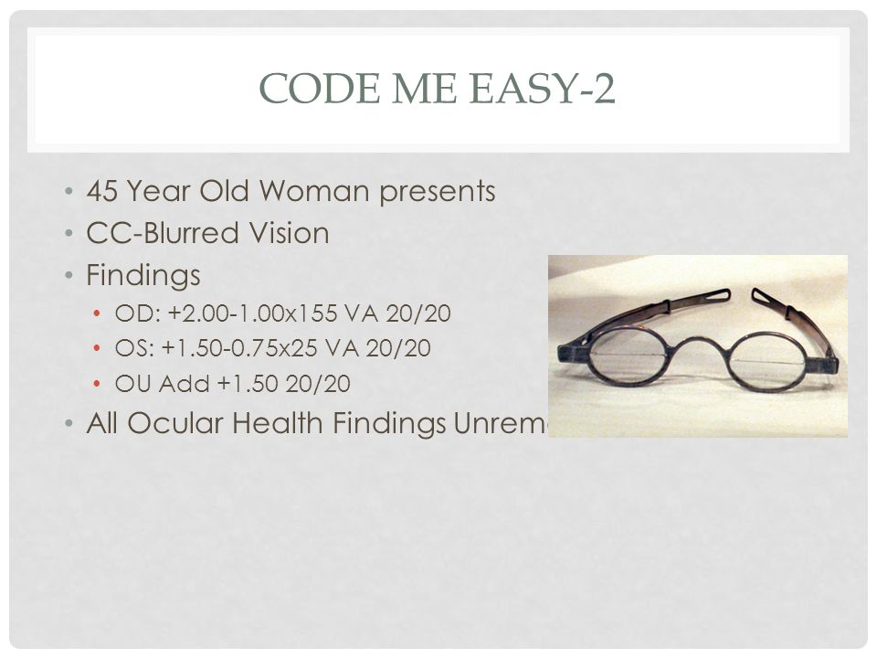 CODE ME EASY-2 45 Year Old Woman presents CC-Blurred Vision Findings