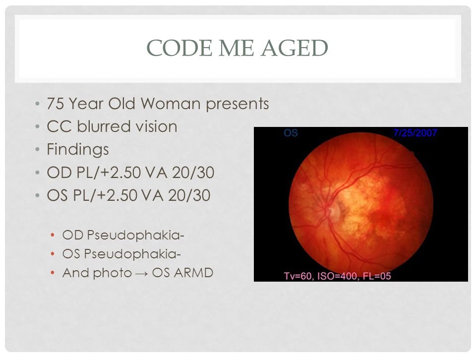 Code Me Aged 75 Year Old Woman presents CC blurred vision Findings