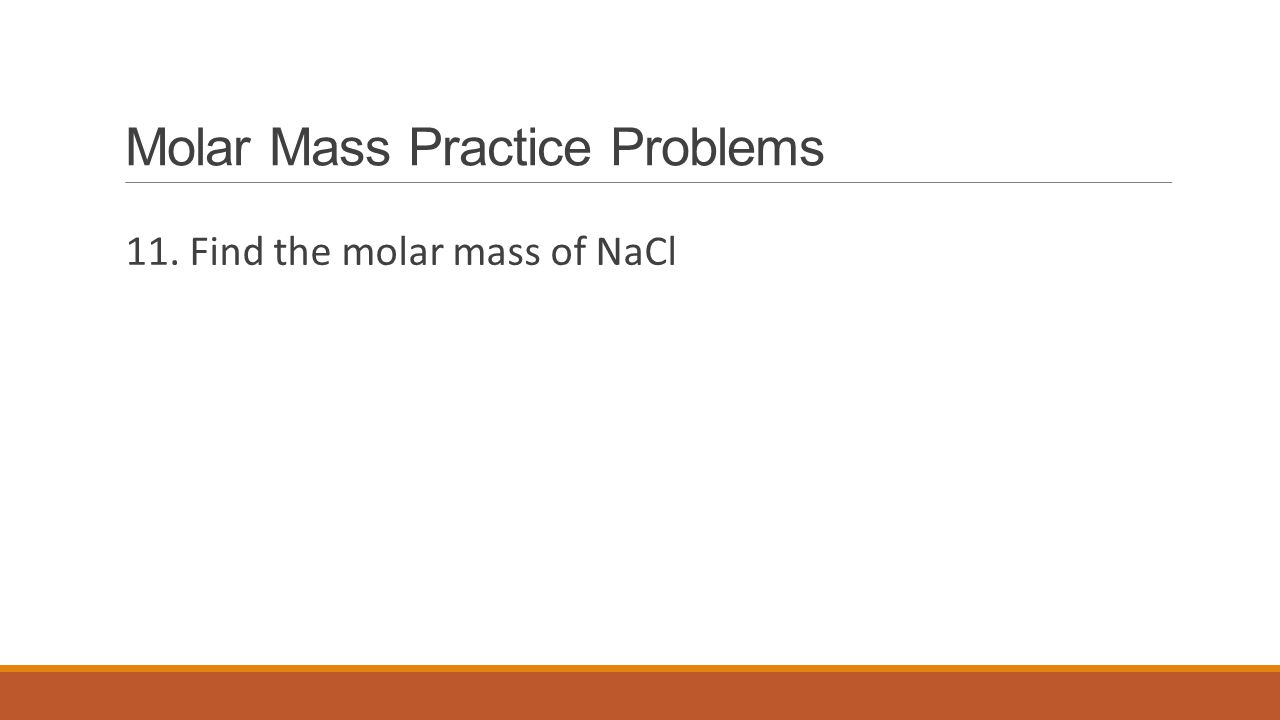 how to find the molar mass of nacl