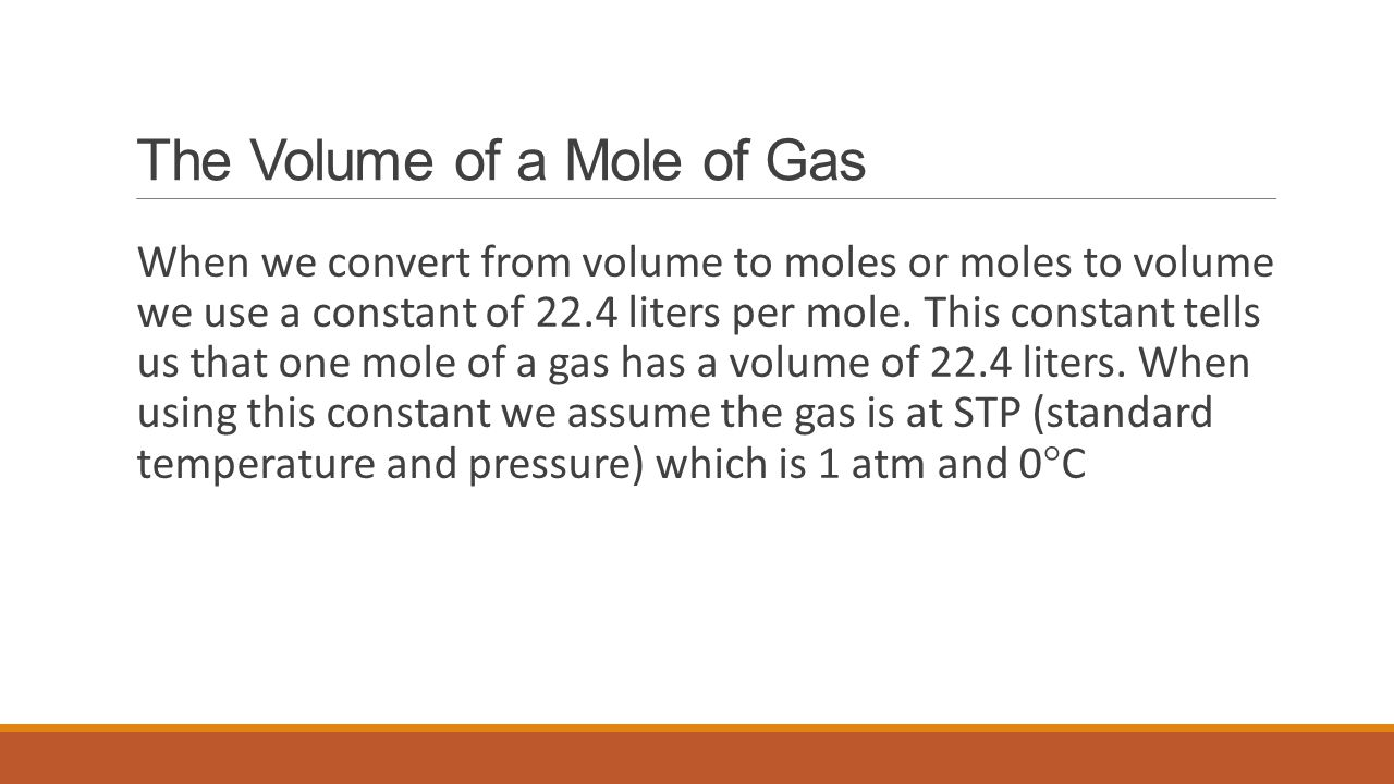 The Volume of a Mole of Gas