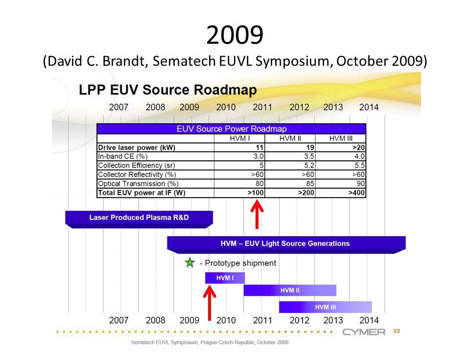 2009 (David C. Brandt, Sematech EUVL Symposium, October 2009)