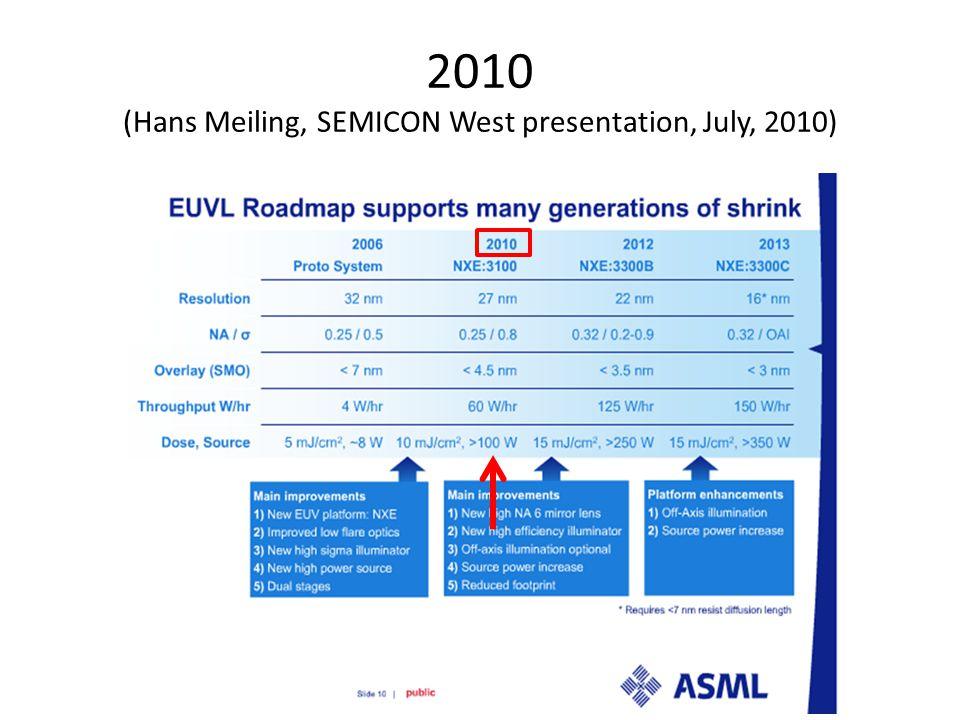 2010 (Hans Meiling, SEMICON West presentation, July, 2010)