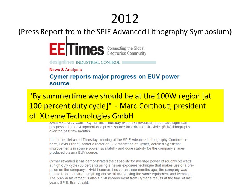 2012 (Press Report from the SPIE Advanced Lithography Symposium)
