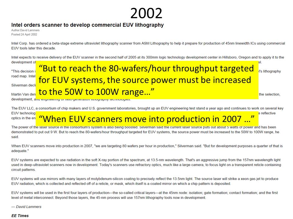 2002 But to reach the 80-wafers/hour throughput targeted for EUV systems, the source power must be increased to the 50W to 100W range…