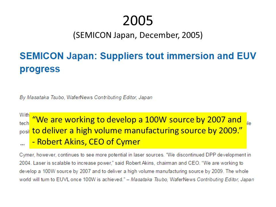 2005 (SEMICON Japan, December, 2005)