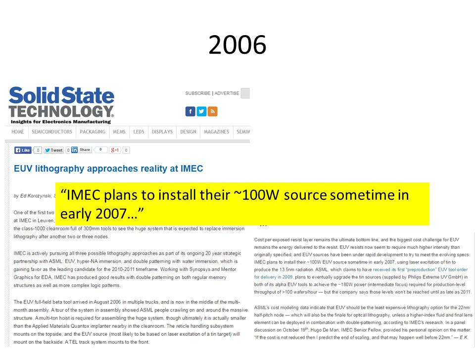 2006 IMEC plans to install their ~100W source sometime in early 2007… …