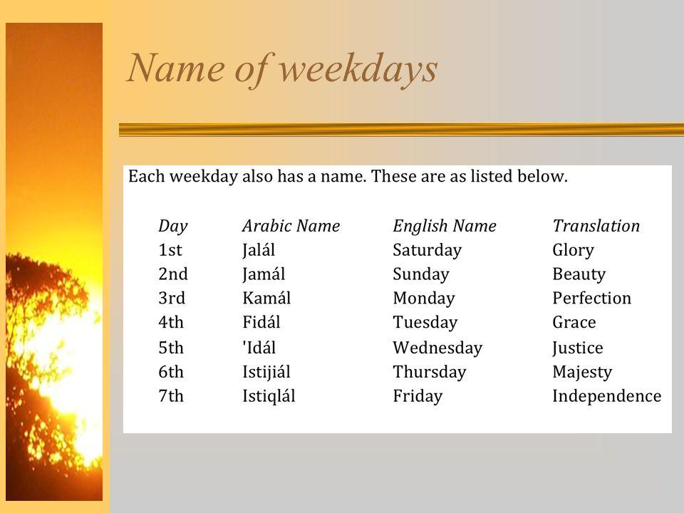 Name of weekdays