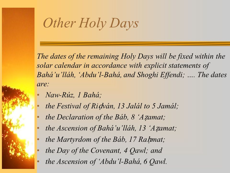 Other Holy Days