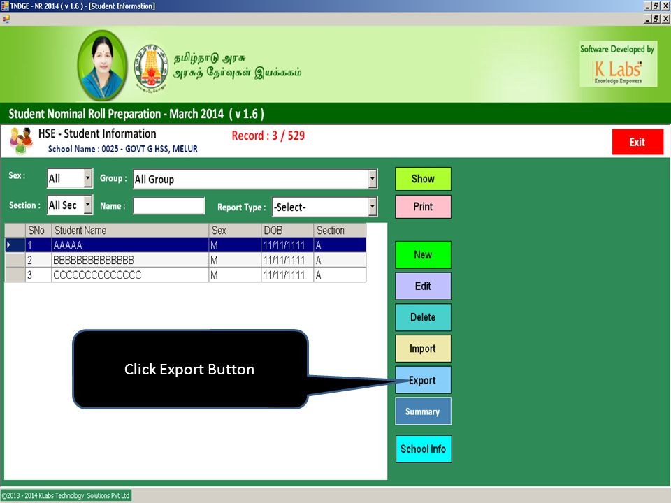 Click Export Button