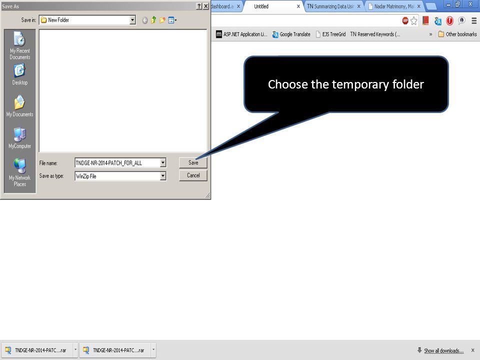 Choose the temporary folder