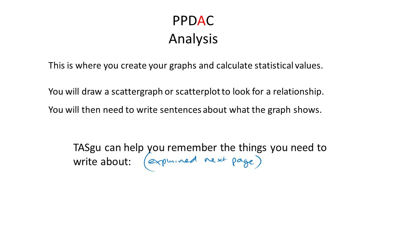 PPDAC Analysis This is where you create your graphs and calculate statistical values.