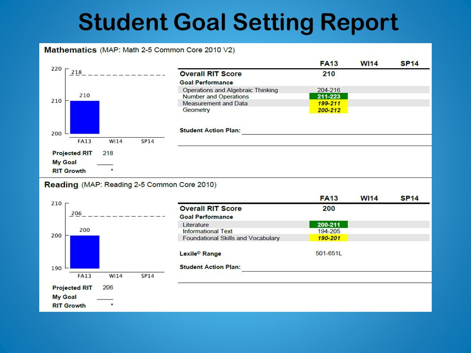 Student Goal Setting Report