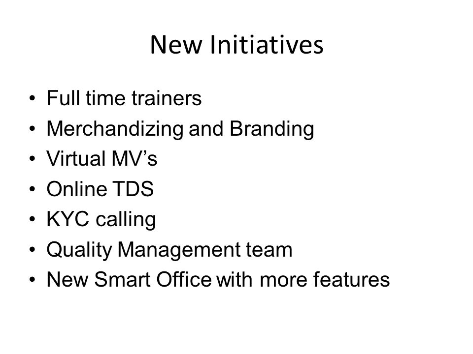 New Initiatives Full time trainers Merchandizing and Branding