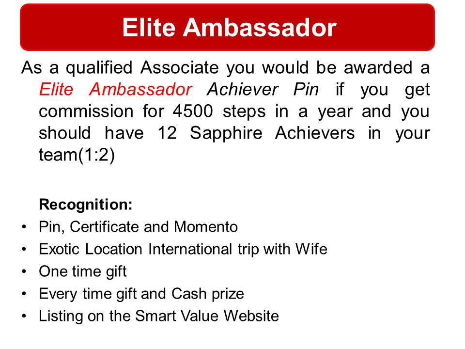 Elite Ambassador Recognition: