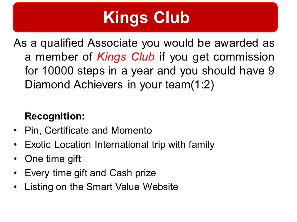 Kings Club Recognition: