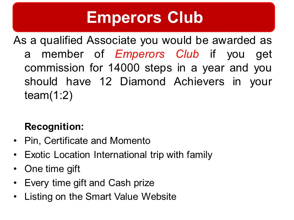 Emperors Club Recognition: