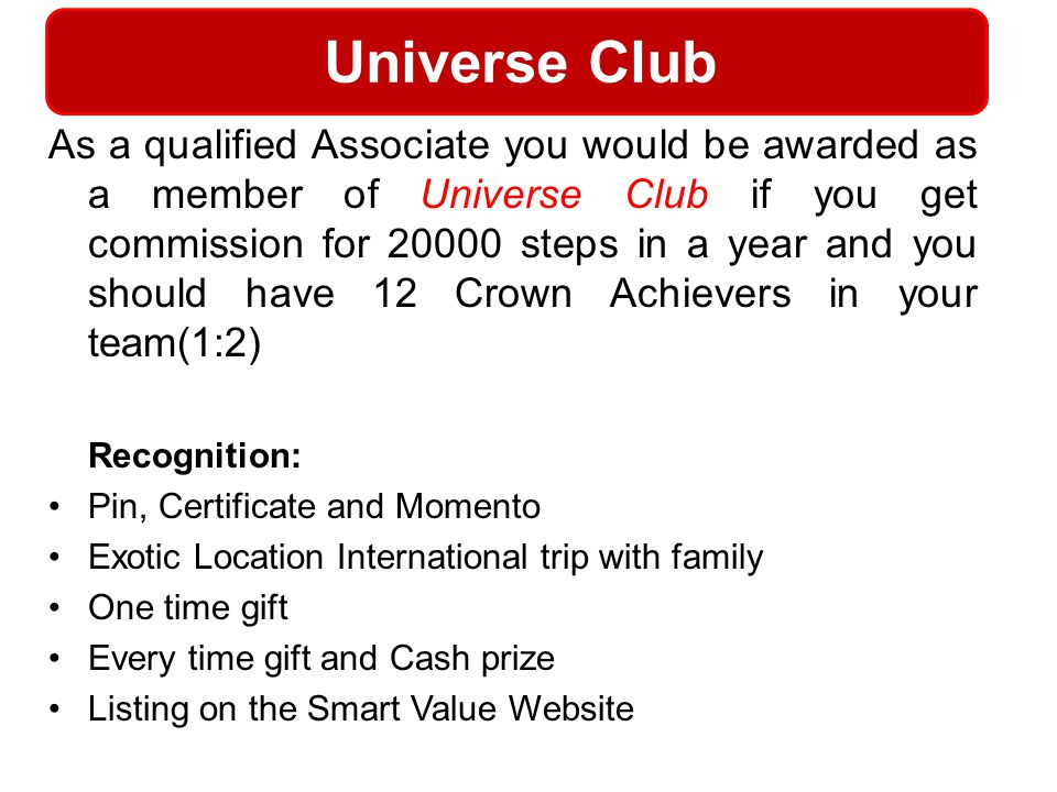 Universe Club Recognition: