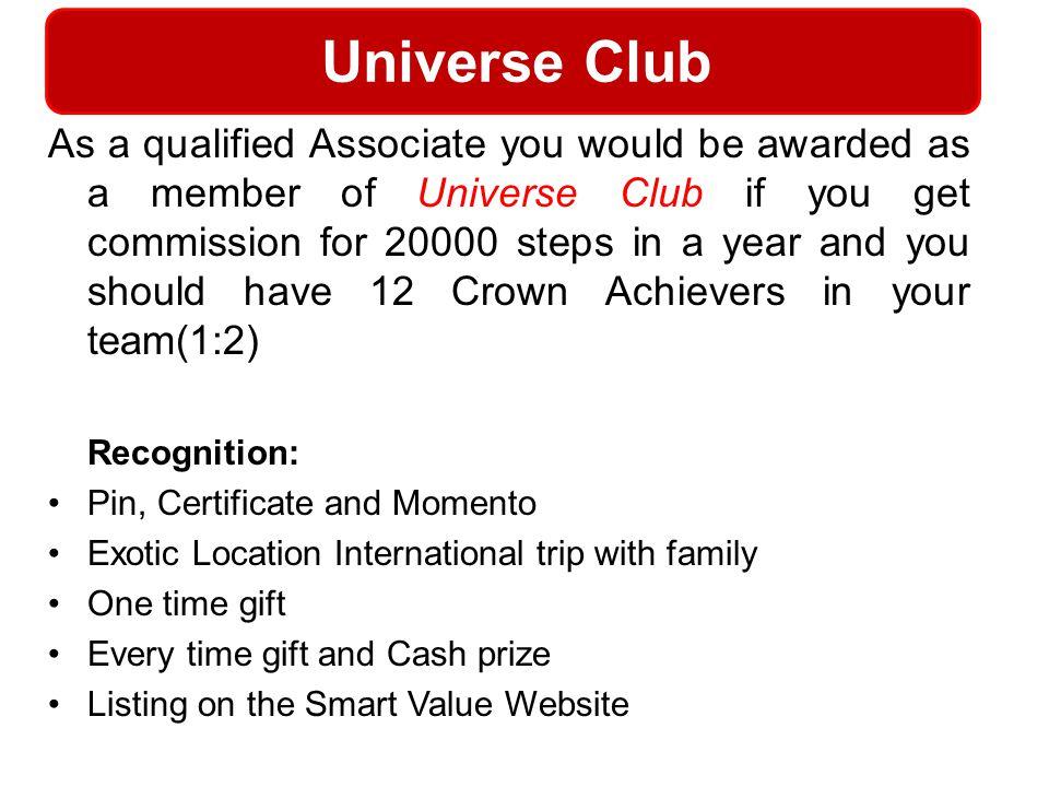Universe Club Recognition: