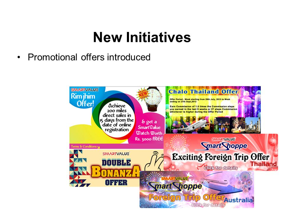 New Initiatives Promotional offers introduced