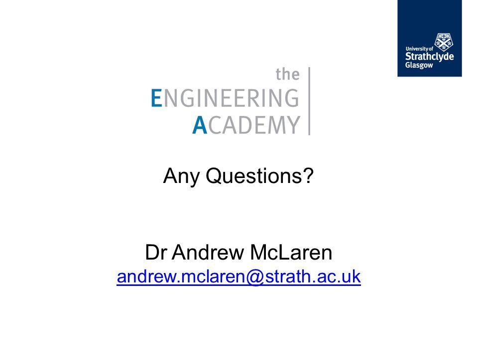 Any Questions Dr Andrew McLaren andrew.mclaren@strath.ac.uk