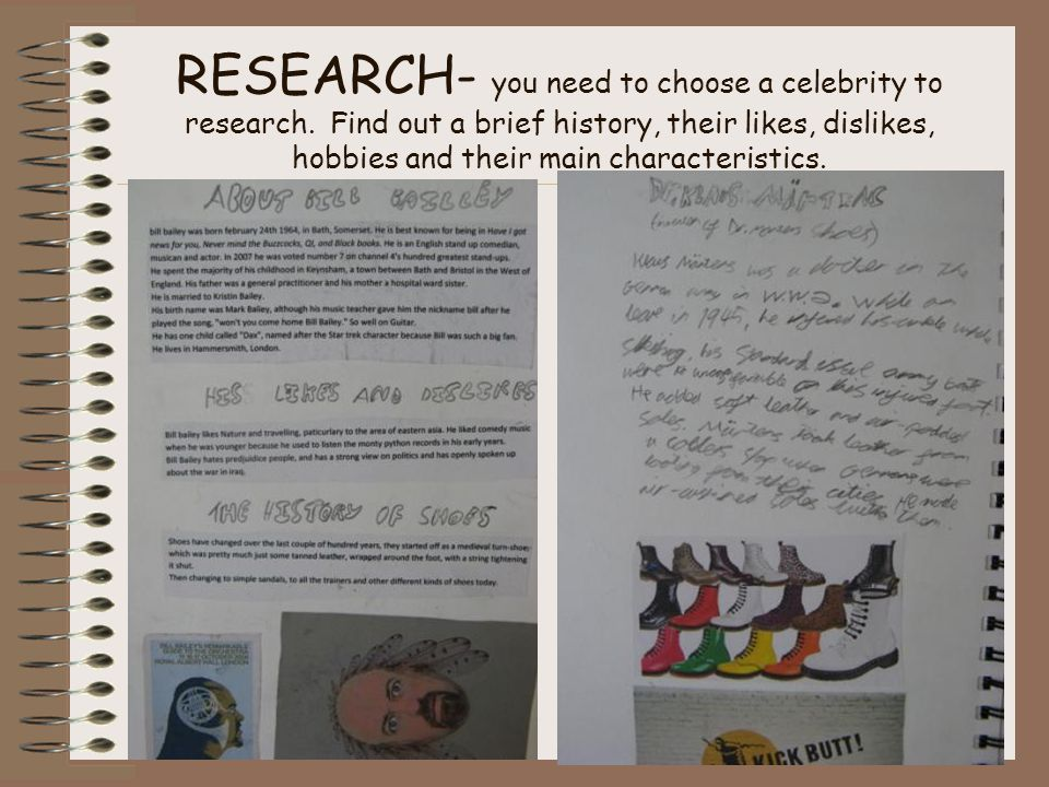 RESEARCH- you need to choose a celebrity to research