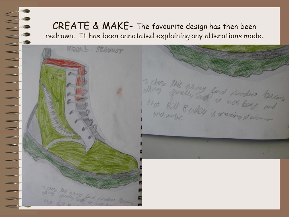 CREATE & MAKE- The favourite design has then been redrawn