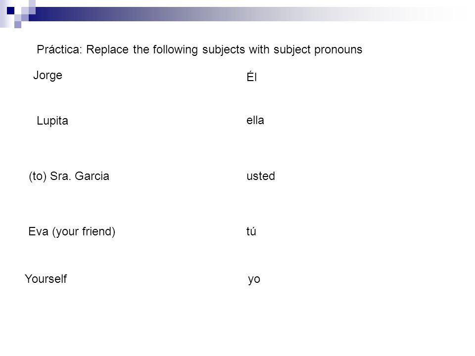 Práctica: Replace the following subjects with subject pronouns