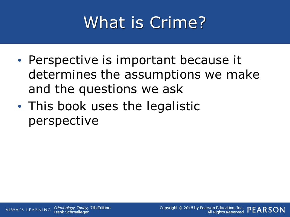 What is Crime Perspective is important because it determines the assumptions we make and the questions we ask.