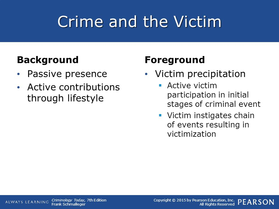 Crime and the Victim Background Foreground Passive presence