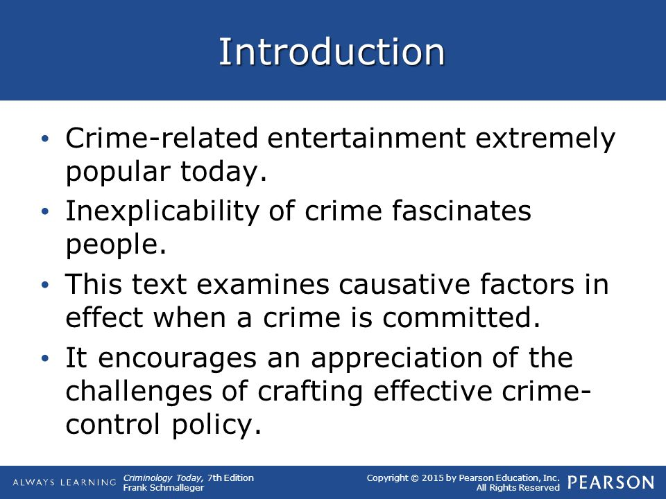 Introduction Crime-related entertainment extremely popular today.