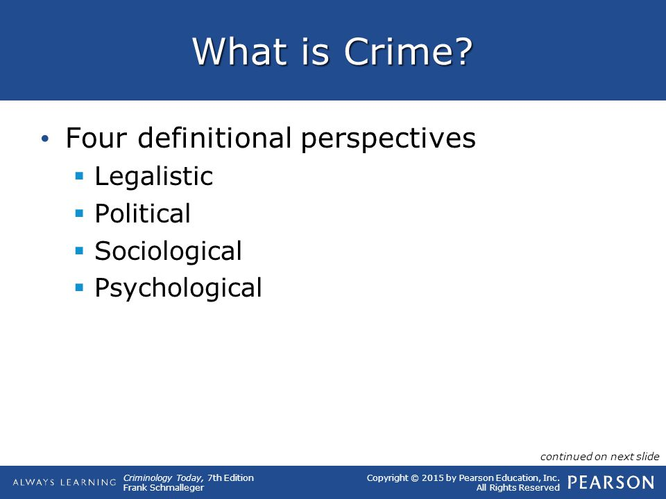 What is Crime Four definitional perspectives Legalistic Political
