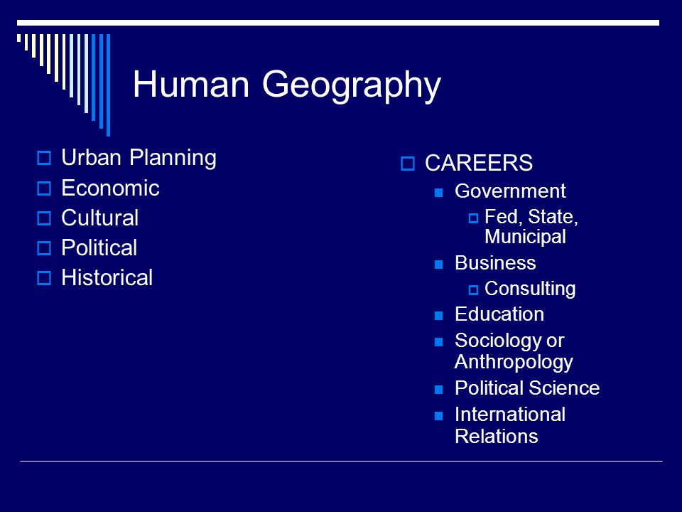 Human Geography Urban Planning CAREERS Economic Cultural Political