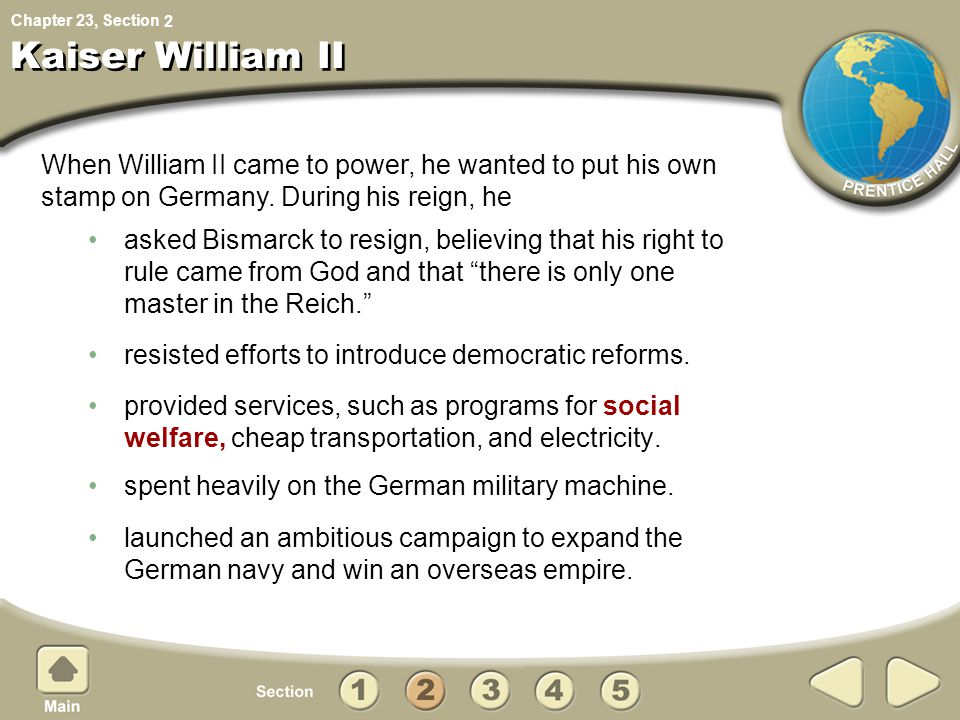 2 Kaiser William II. When William II came to power, he wanted to put his own stamp on Germany. During his reign, he.