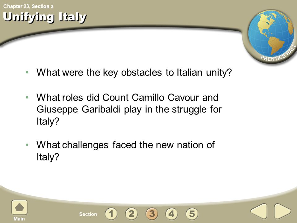 What were the key obstacles to Italian unity