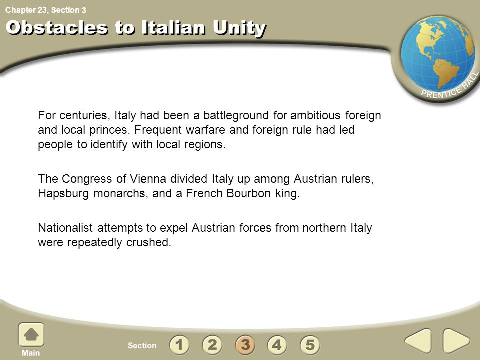 Obstacles to Italian Unity