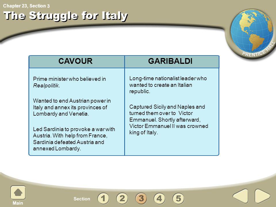 The Struggle for Italy CAVOUR GARIBALDI