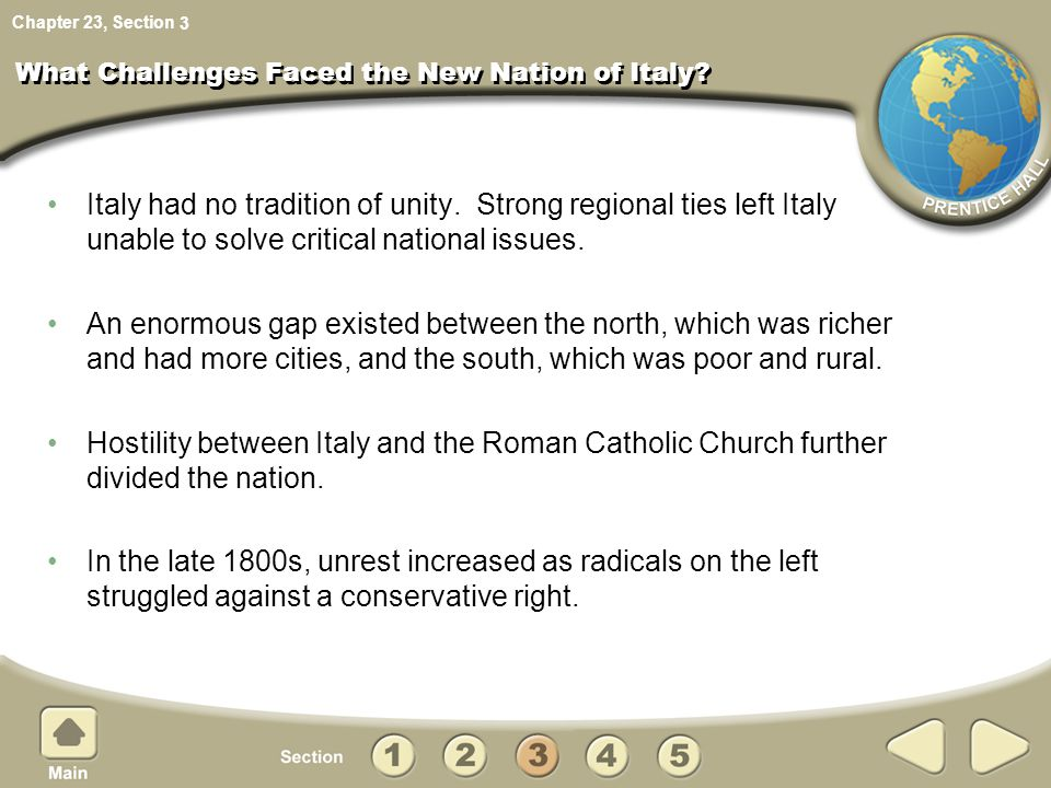 What Challenges Faced the New Nation of Italy