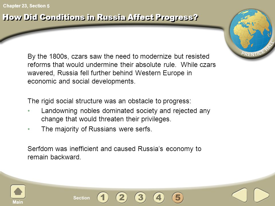 How Did Conditions in Russia Affect Progress
