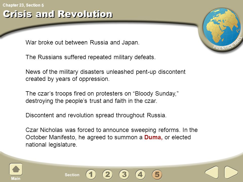 Crisis and Revolution War broke out between Russia and Japan.