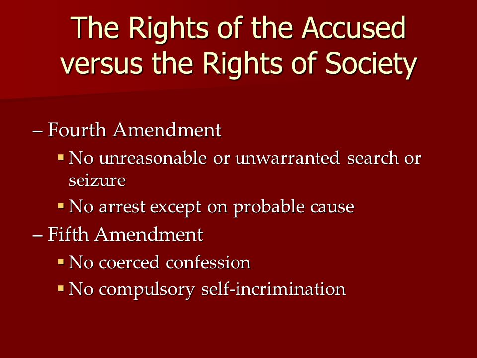 The Rights of the Accused versus the Rights of Society