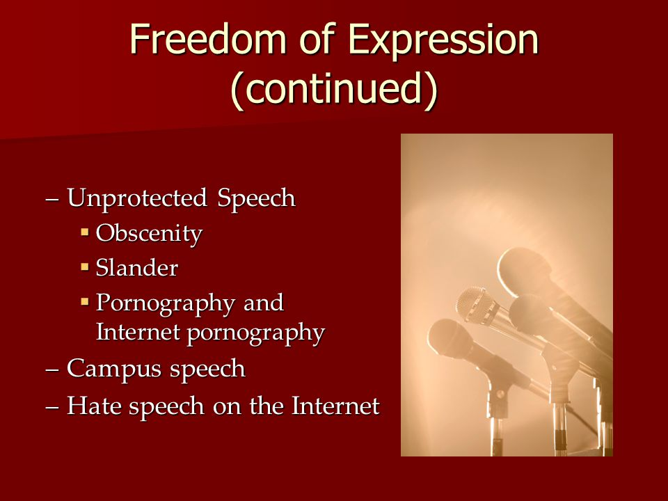 Freedom of Expression (continued)
