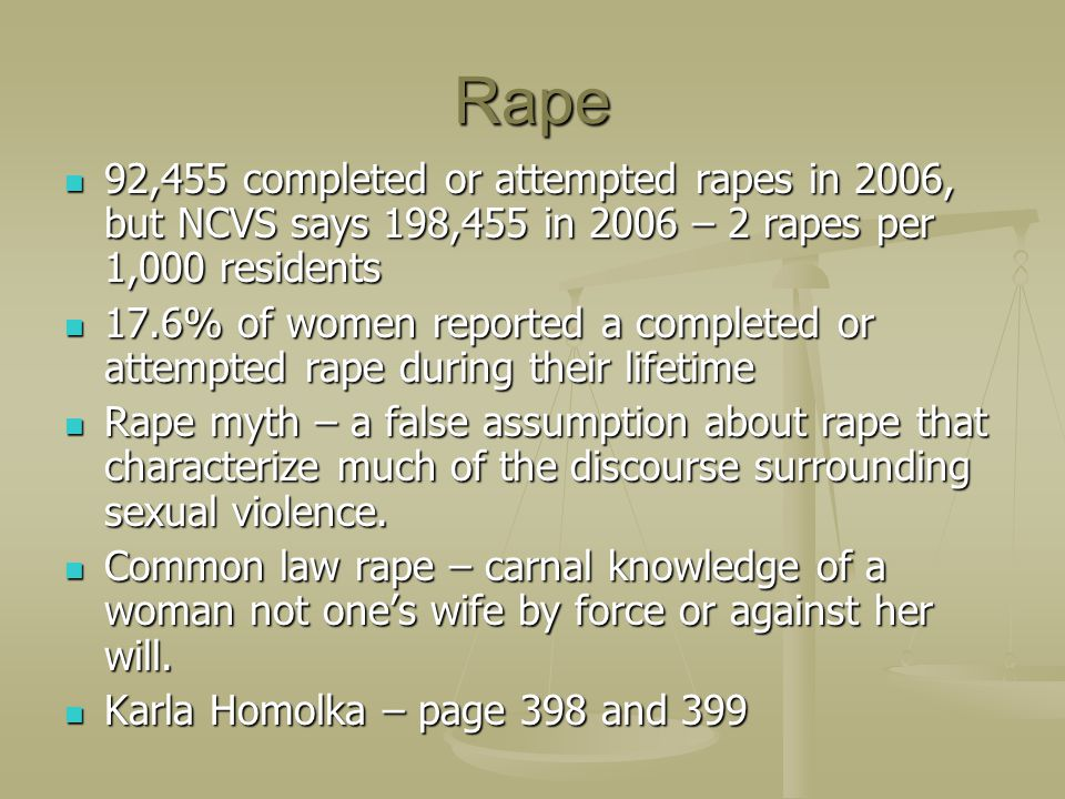 Rape 92,455 completed or attempted rapes in 2006, but NCVS says 198,455 in 2006 – 2 rapes per 1,000 residents.