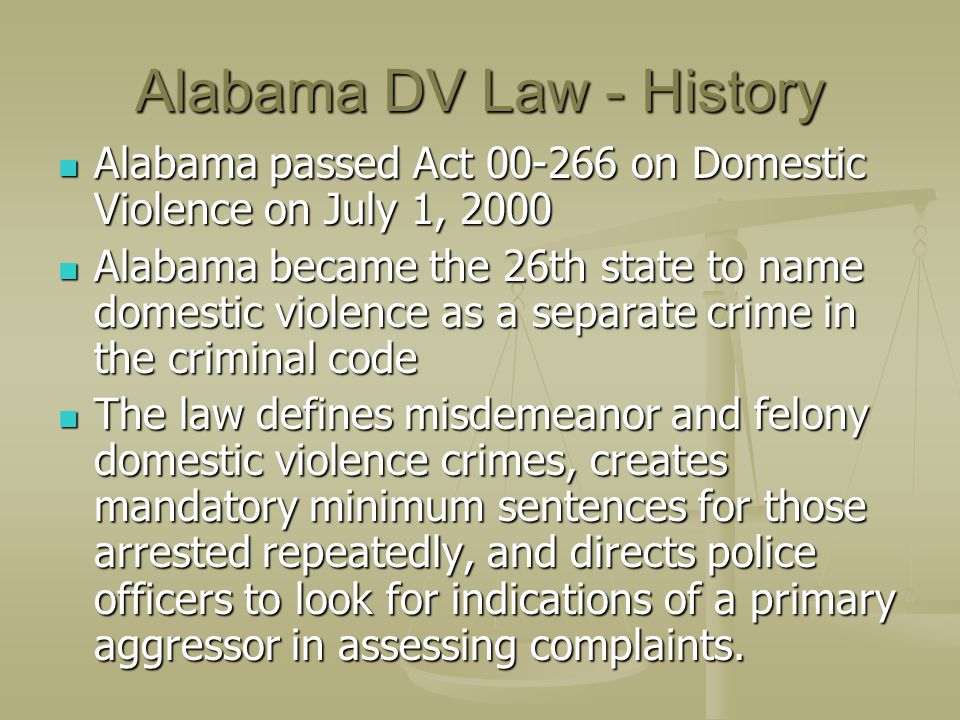 Alabama DV Law - History